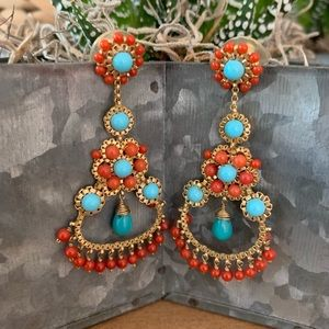 GORGEOUS FAUX CORAL & TURQUOISE DANGLE EARRINGS